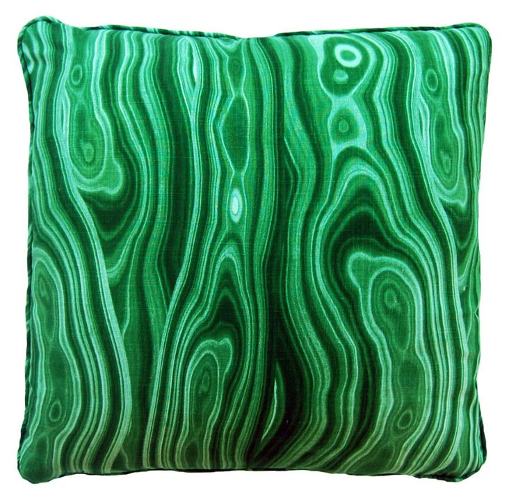 Malachite 22x22 Cotton Pillow, Green