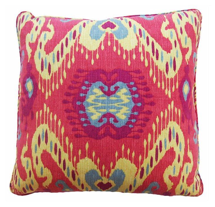 Ikat 22x22 Cotton Pillow, Multi