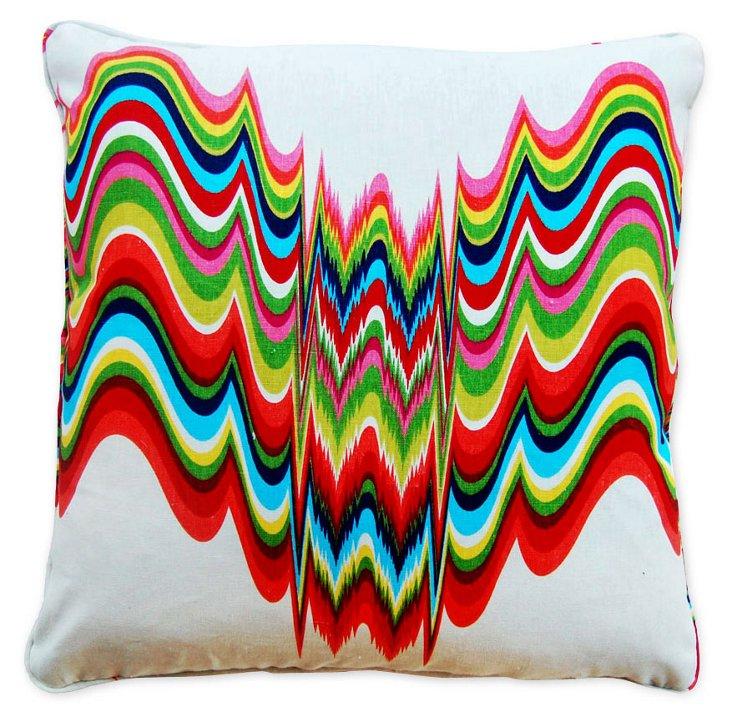 Wave Rainbow 22x22 Linen Pillow, Multi