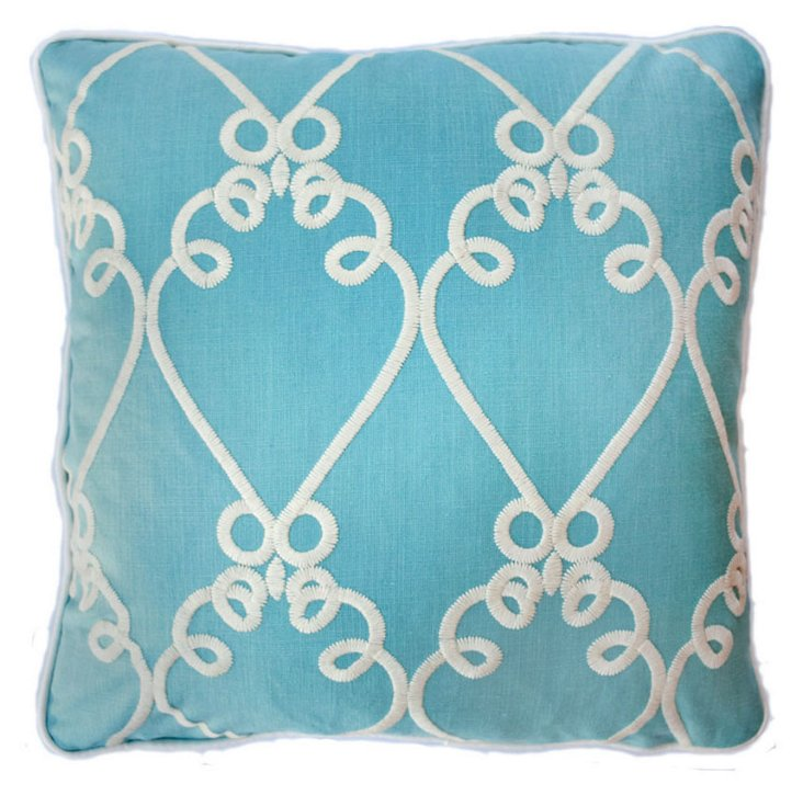 Charms 22x22 Embroidered Pillow, Aqua