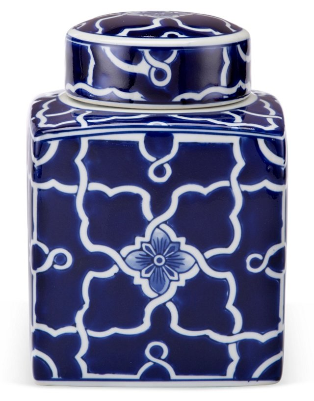 """8"""" Classic Ginger Canister, Blue/White"""