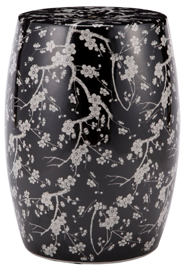 Leigh Garden Stool, Black/White