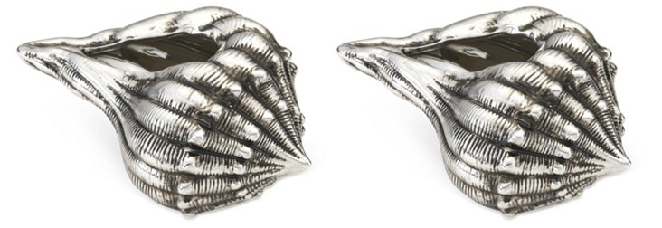 S/2 Ceramic Seashells, Silver