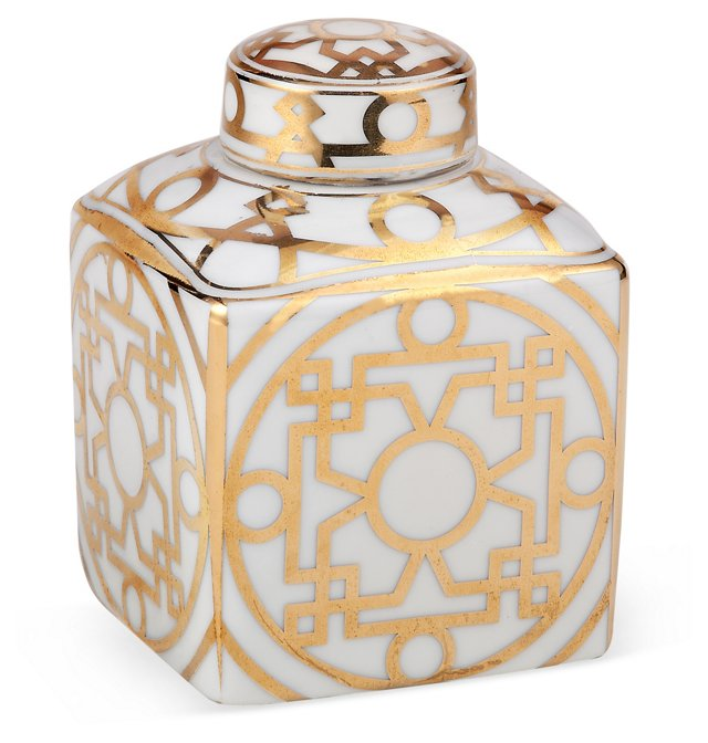 6'' Deco Canister, White/Gold