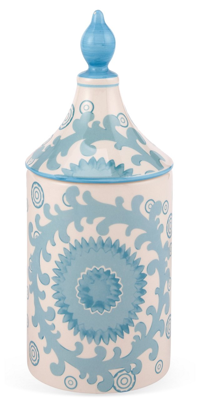 """10"""" Paisley Canister, White/Blue"""