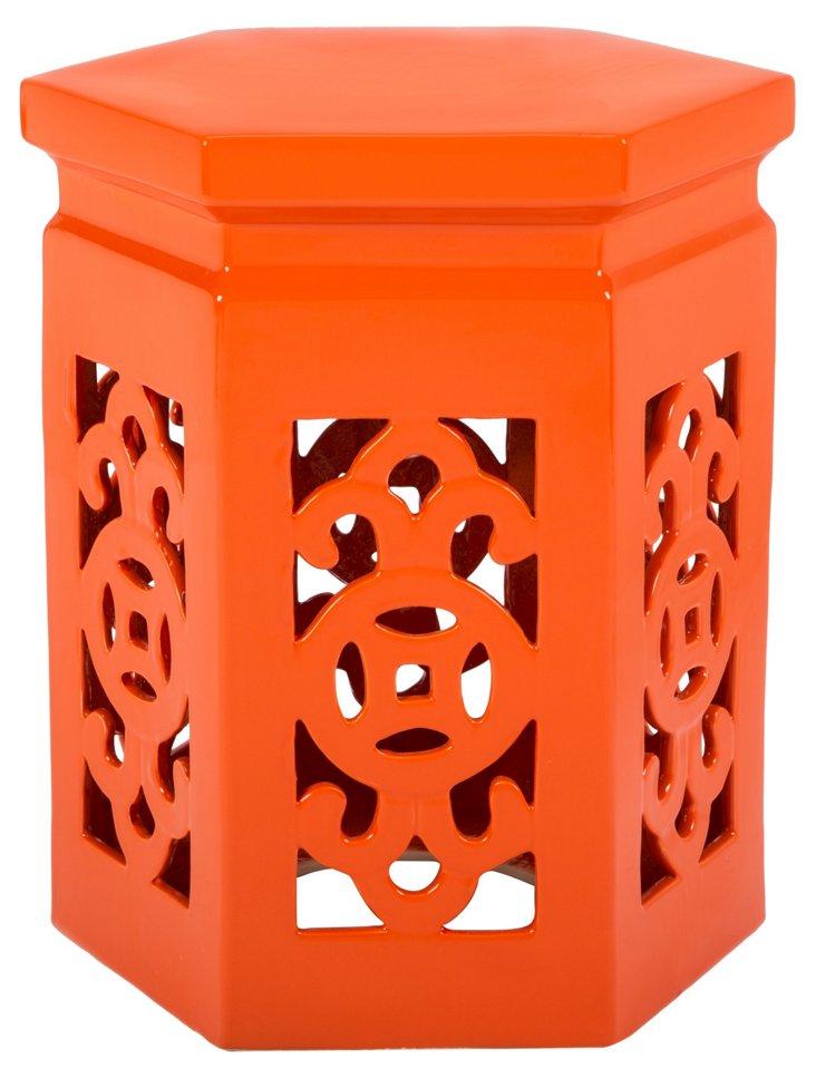 Aly Arabesque Garden Stool, Orange