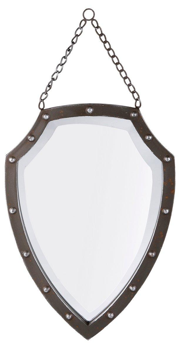 Medieval Shield Accent Mirror, Silver
