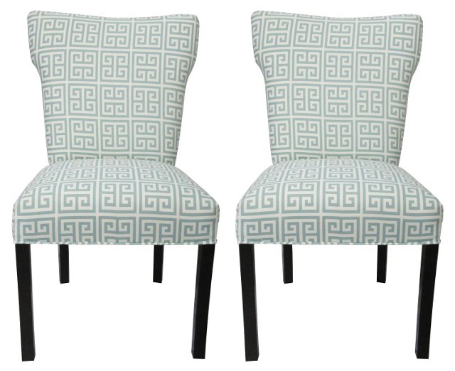 Light Blue Chloe Chairs, Pair