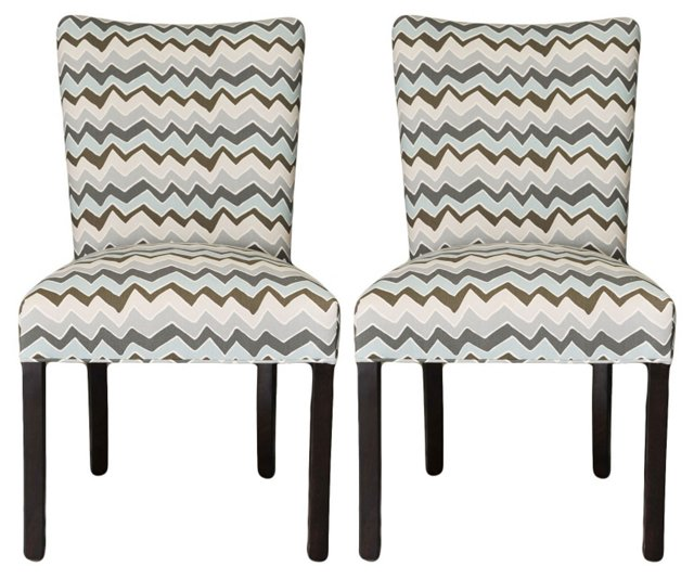 Light Blue Darla Side Chairs, Pair