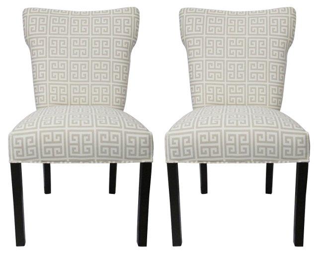 Light Gray Chloe Chairs, Pair