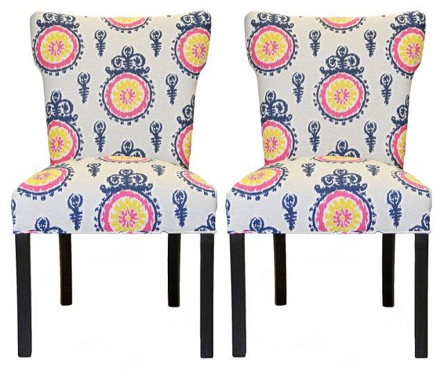 Multi Fan Back Nina Chairs, Pair