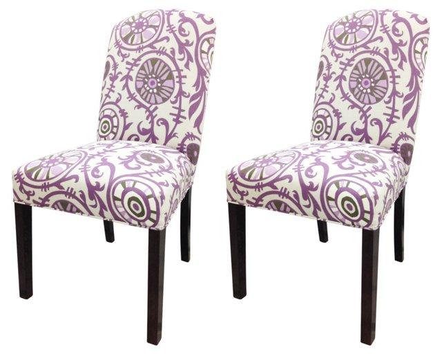 Purple Leoni Chairs, Pair