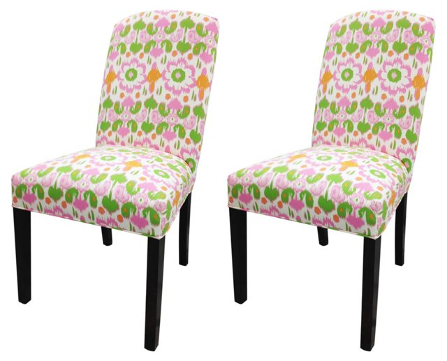 Pink Leoni Chairs, Pair