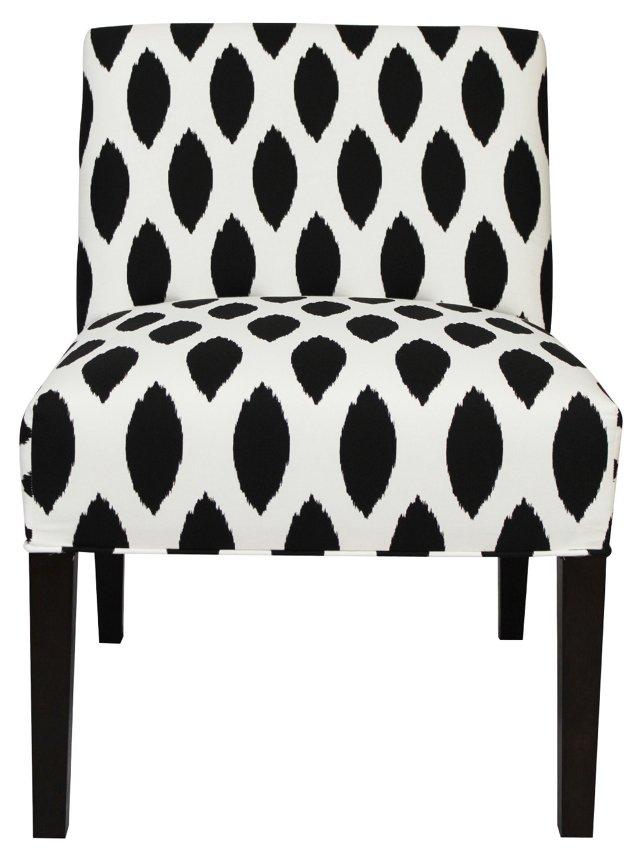 Carly Armless Chair, Black/White