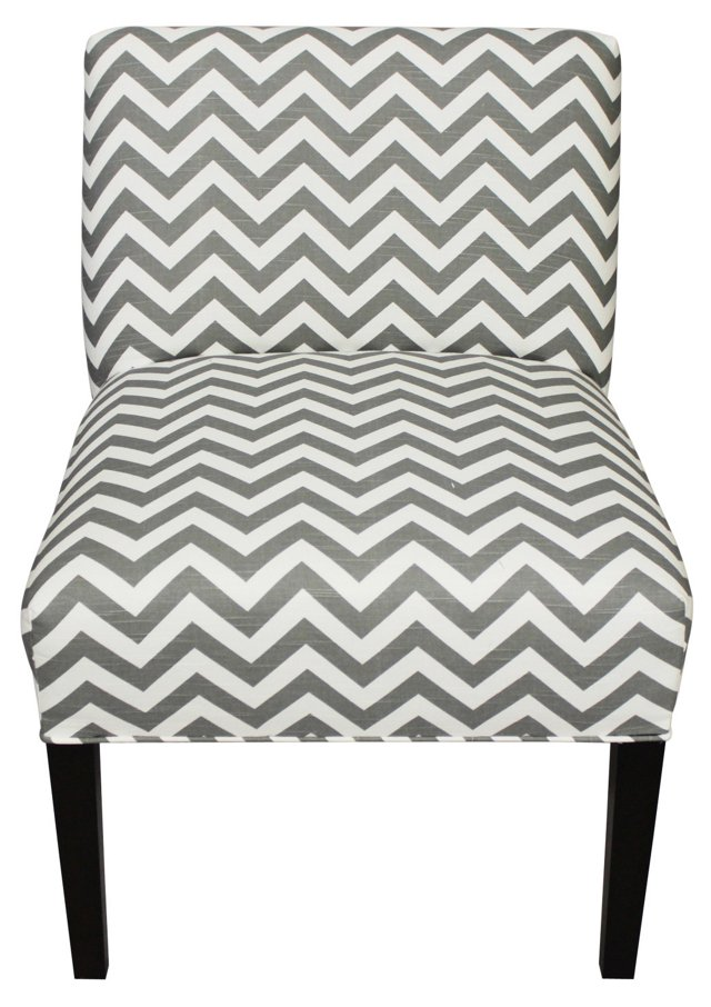 Cooke Slipper Chair, Gray Chevron