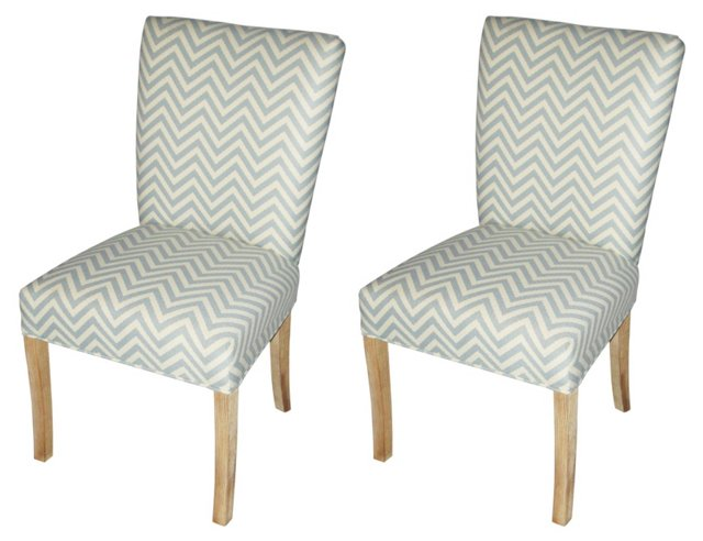 Mist Julia Side Chairs, Pair