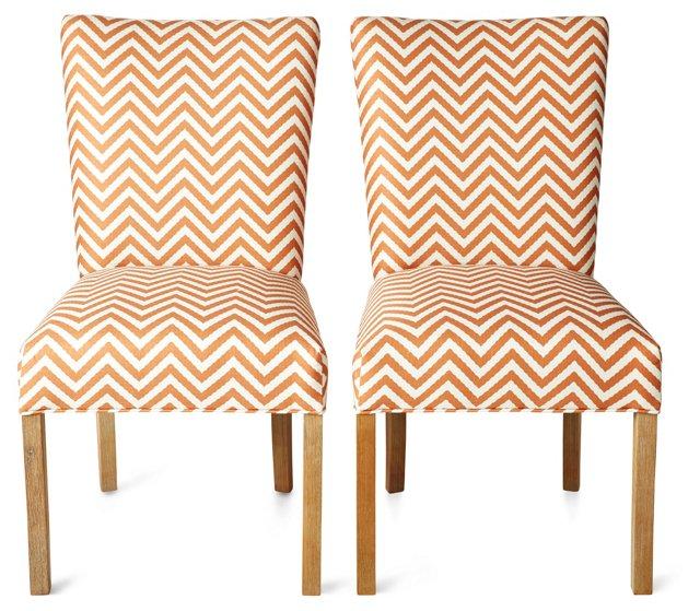 Orange Julia Side Chairs, Pair