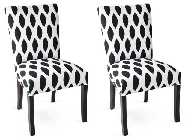 Carly Black/White Ikat Side Chairs, Pair