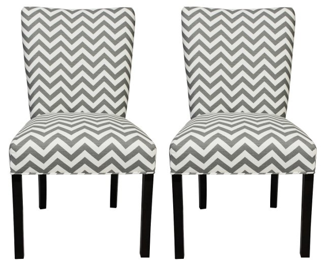 Gray Julia Side Chairs, Pair
