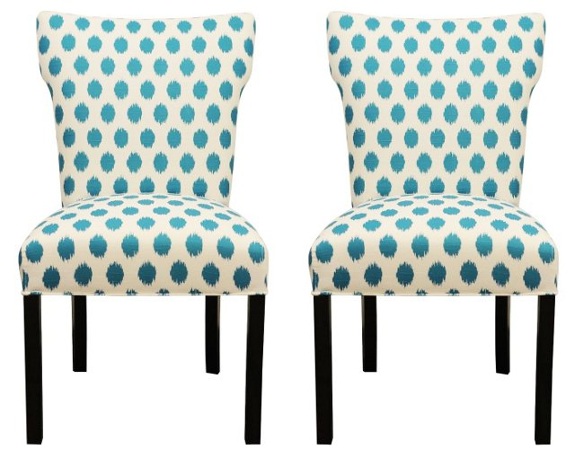 Turquoise Lauren Side Chairs, Pair