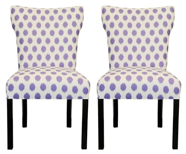 Purple Lauren Side Chairs, Pair