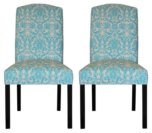 Aqua Abigail Side Chairs, Pair