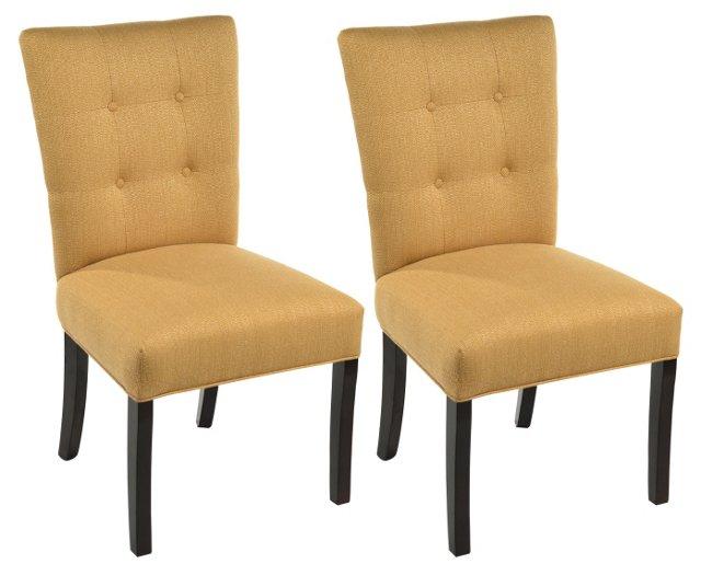 Tan Rebecca Side Chairs, Pair