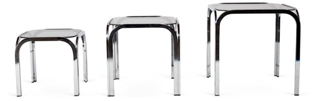 Chrome & Glass Nesting Tables, Set of 3