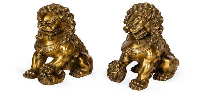 Brass Foo Dogs, Pair
