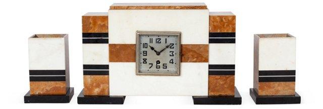 Art Deco Marble Clock w/ Garnitures