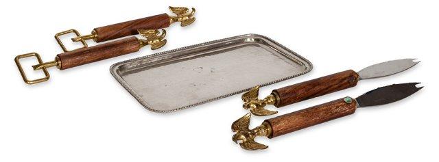 Silver Tray & Accessories, 5 Pcs.