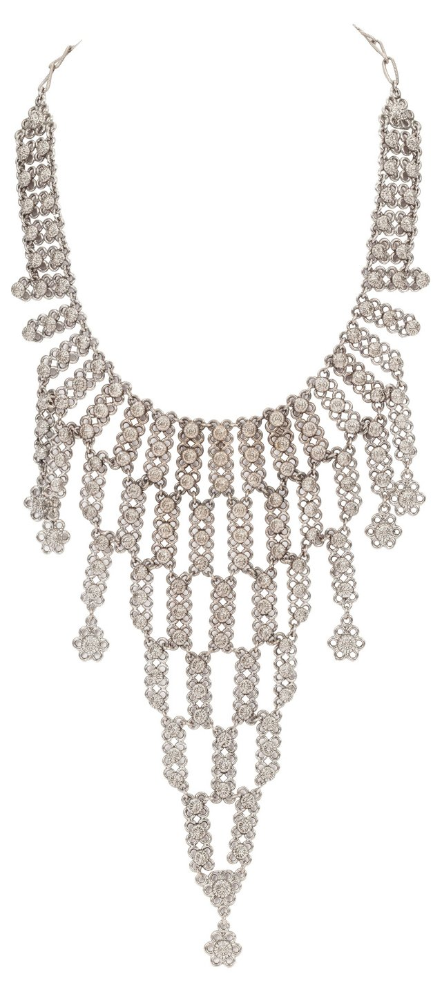 Silvertone Chain Bib Necklace