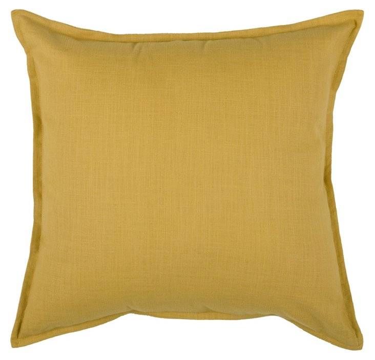 Solid 20x20 Cotton Pillow, Mustard