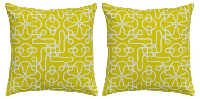 S/2 Whimsy 18x18 Cotton Pillow, Yellow