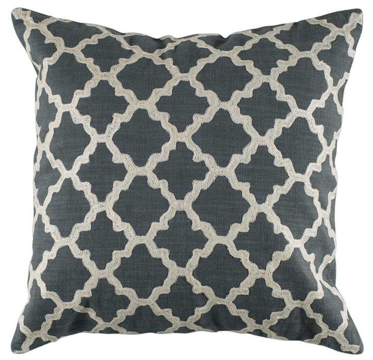 Lattice 18x18 Cotton Pillow, Gray
