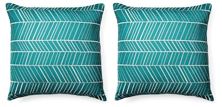S/2 Fishbone 18x18 Cotton Pillows, Teal
