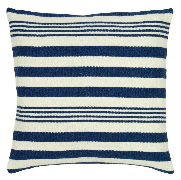 Stripe 24x24 Wool-Blend  Pillow, Navy