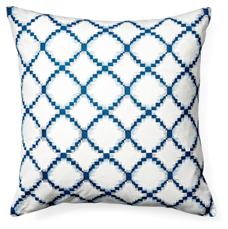 S/2 Net 18x18 Cotton Pillows, Navy