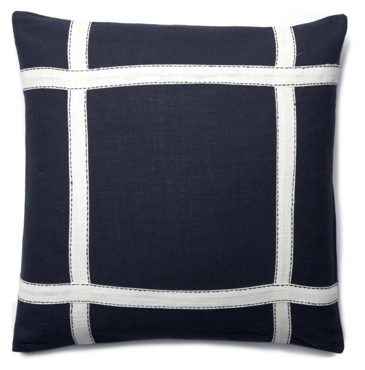 S/2 Window 18x18 Cotton Pillows, Navy