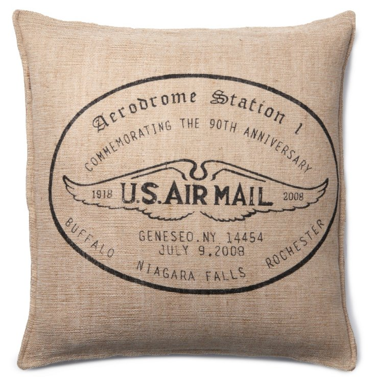 Air Mail 18x18 Pillow, Beige