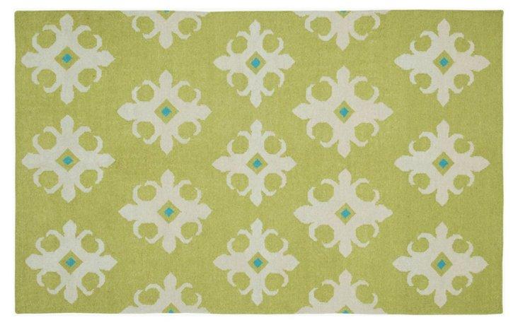 Osburn Flat-Weave Rug, Green/Beige