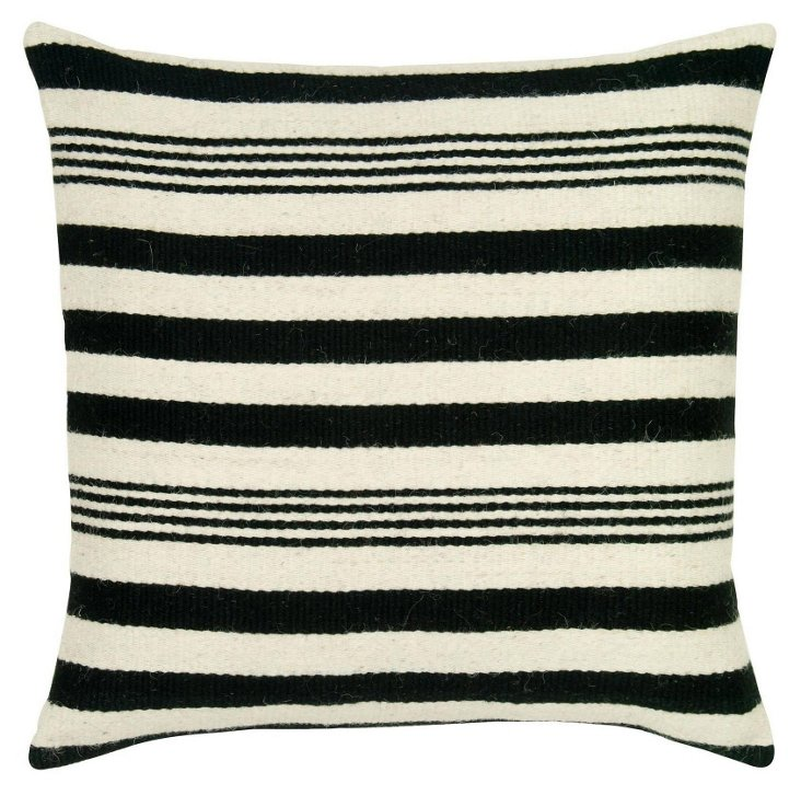 Striped 24x24 Wool Pillow, Black