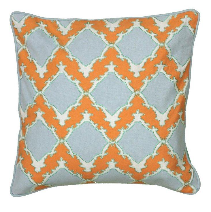 Sue 18x18 Cotton-Blended Pillow, Orange