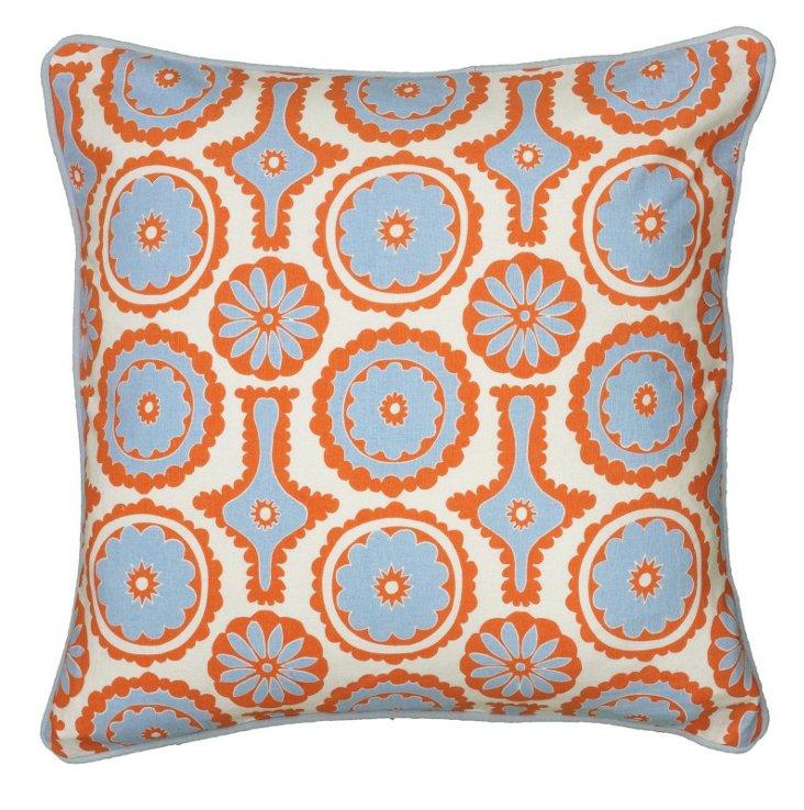 Ali 18x18 Cotton-Blend Pillow, Orange