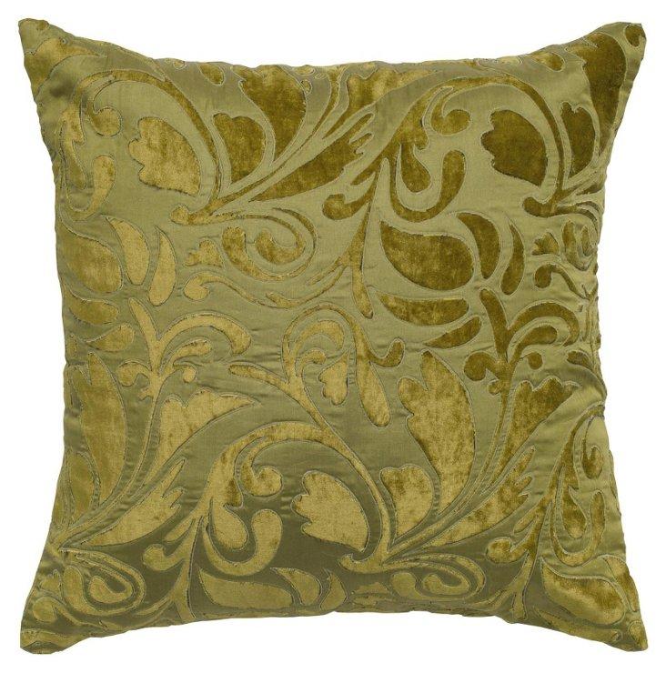 Kate 18x18 Velvet-Blend Pillow, Green