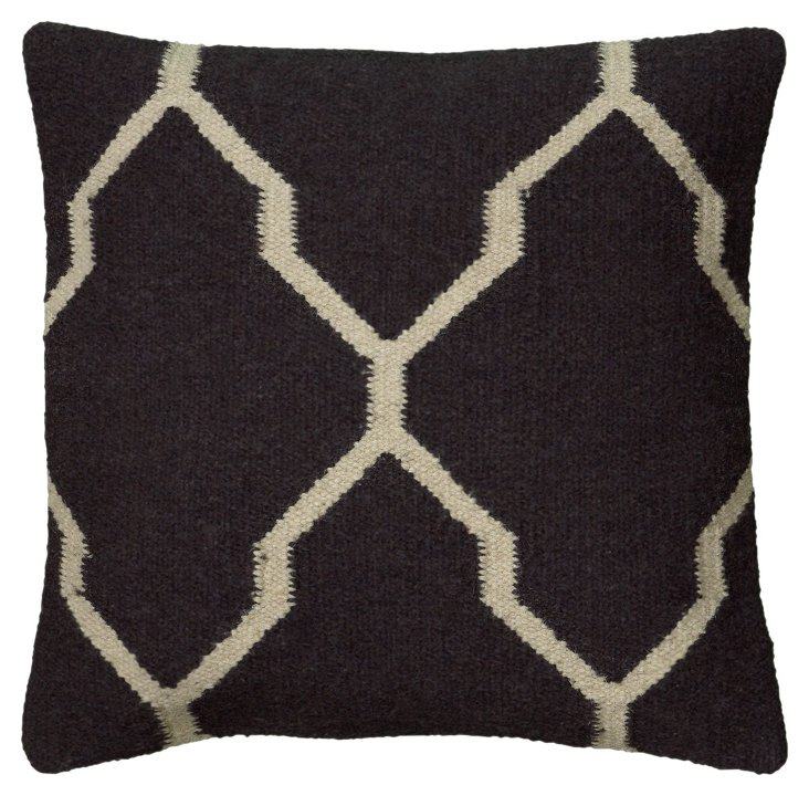 Patterned 18x18 Pillow, Dark Gray