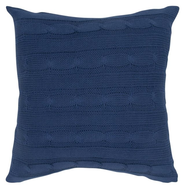 Knit 18x18 Cotton Pillow, Blue