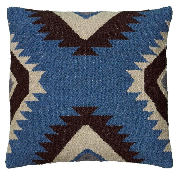 Liv 18x18 Wool-Blended Pillow, Blue