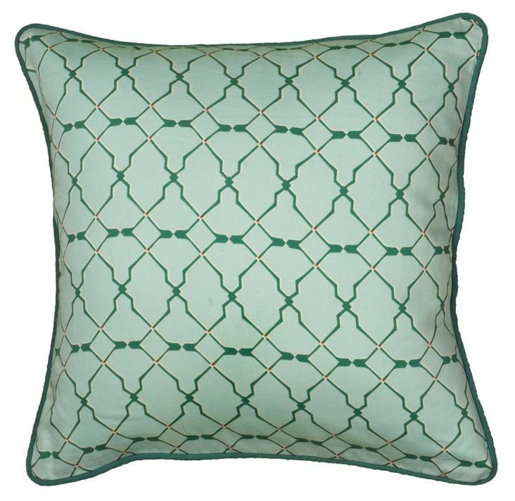 Geo 18x18 Cotton Satin Pillow, Green