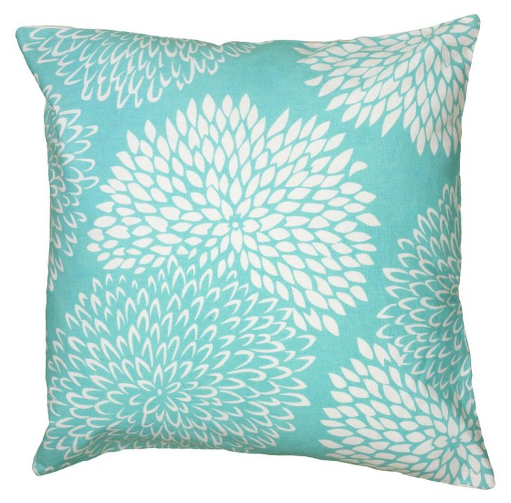 Susie 18x18 Cotton Pillow, Teal